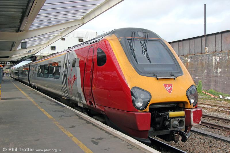 VT 221103 'Christopher Columbus' waits at Shrewsbury to form 1B32, 1524 to London Euston on 28th September 2019.