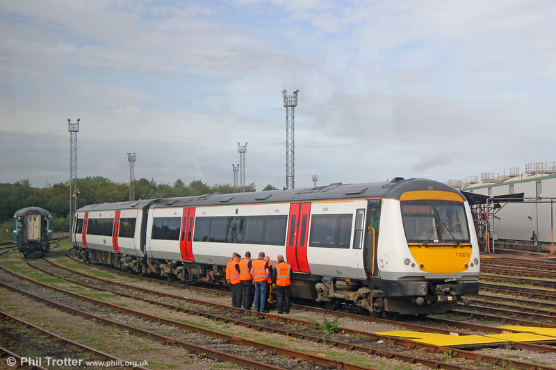 Staff training is underway ready for the entry into service with TfW of the ex-Greater Anglia 170s. This is 170270 at Cardiff Canton on 23rd September 2019.