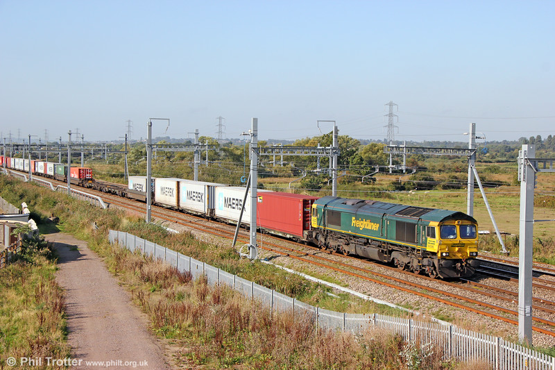 Long day ahead: 66596 at Coedkernew with  4L38, 0956 Wentloog to Felixstowe North (which it reached at 1741) on 20th September 2019.