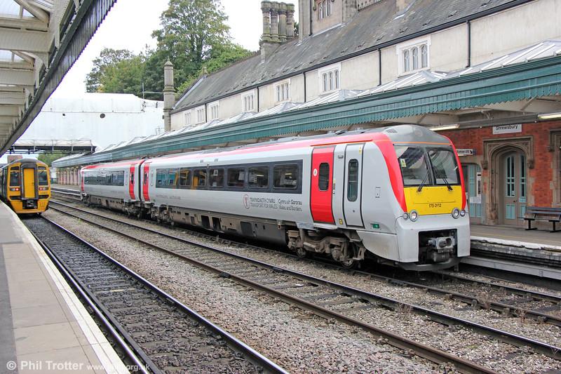 175002 at Shewsbury forming 1W94, 1218 Maesteg to Holyhead on 28th September 2019.
