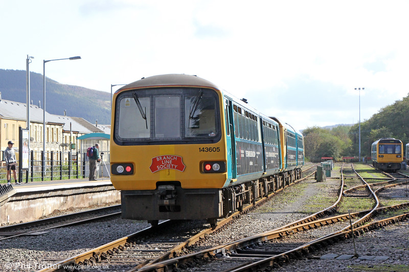 143605 brings up the rear at Treherbert Yard with 1Z42, 1200 Pontypridd to Pontypridd via Treherbert and Aberdare, the Branch Line Society's 'Cardiff Valley Pacer Farewell/Farwelio â Phacer Cymoedd Caerdydd' railtour of 6th October 2019.