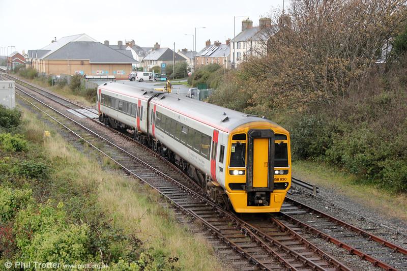 158830 departs from Tywyn forming 2G25, 0724 Pwllheli to Machynlleth on 8th October 2019.