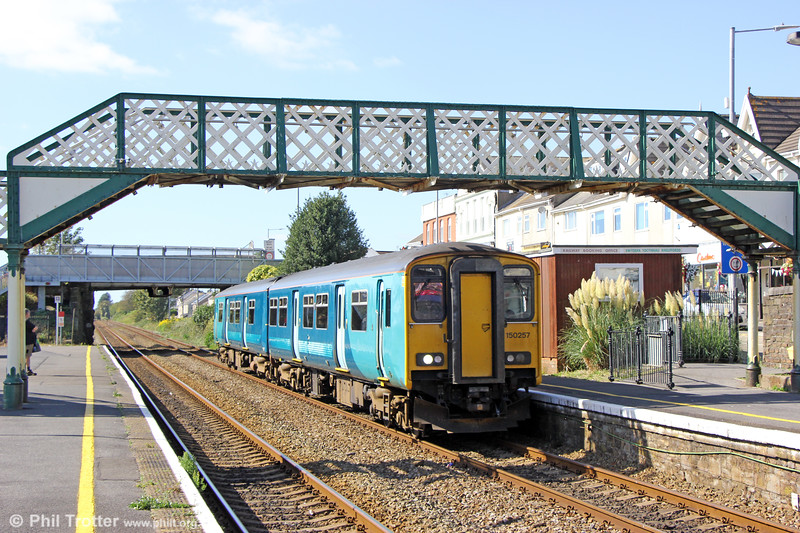International Service (?!): 150257 passes Pembrey and Burry Port forming 1B97, 1250 Fishguard Harbour to Cardiff Central on 17th September 2019.