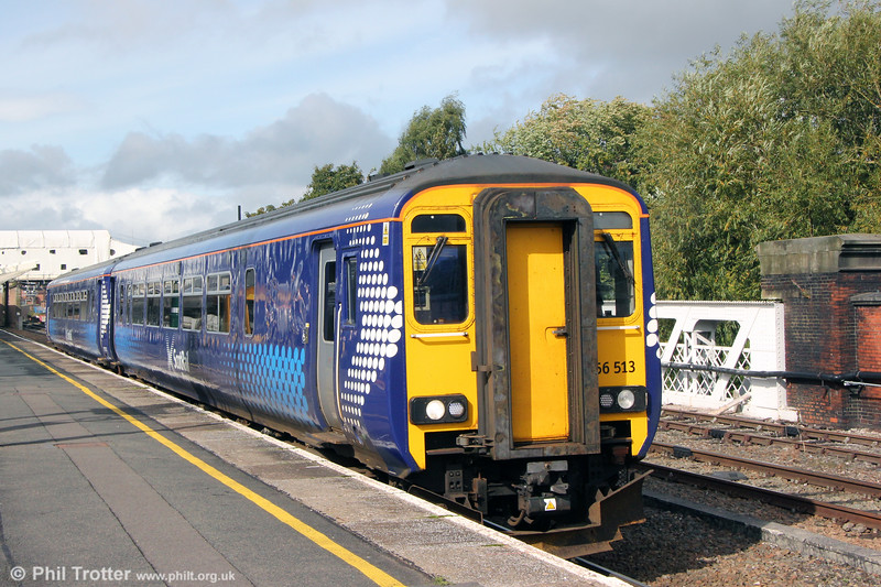 A long way from home, Scotrail 156513 at Shrewsbury forming 5W78, 0457 Shield TMD to Landore TMD for refurbishment by Chrysalis Rail. 28th September 2019.