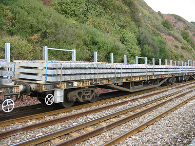 YSA 'Salmon' flat DB996219 at Teignmouth on the 11th Oct 2003 loaded with concrete sleepers