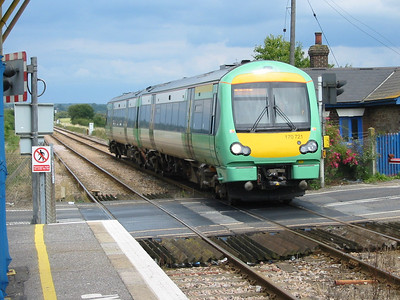 Southern's class 171s were delivered as class 170, this is 170721 at Appledore on the 11th July 2004, this unit was later renumbered to 171721 after being fitted with different couplings.