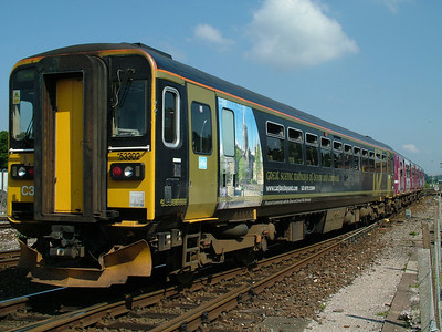 Devon & Cornwall branch lines liveried 153302 at Exeter St Davids on the 9th July 2005