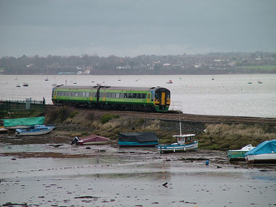On hire to Wessex Trains from Central Trains, 158794 passes Cockwood Harbour