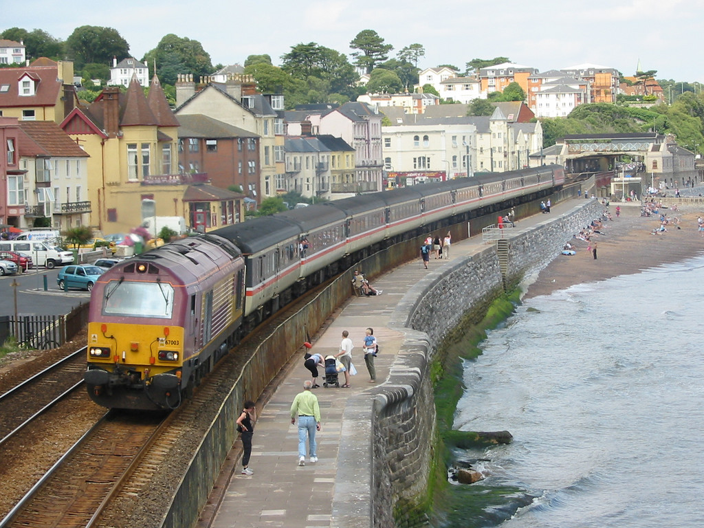 During summer 2004 Virgin Trains hired in loco hauled coaching stock sets using EWS class 67s as power, 67003 is seen at Dawlish
