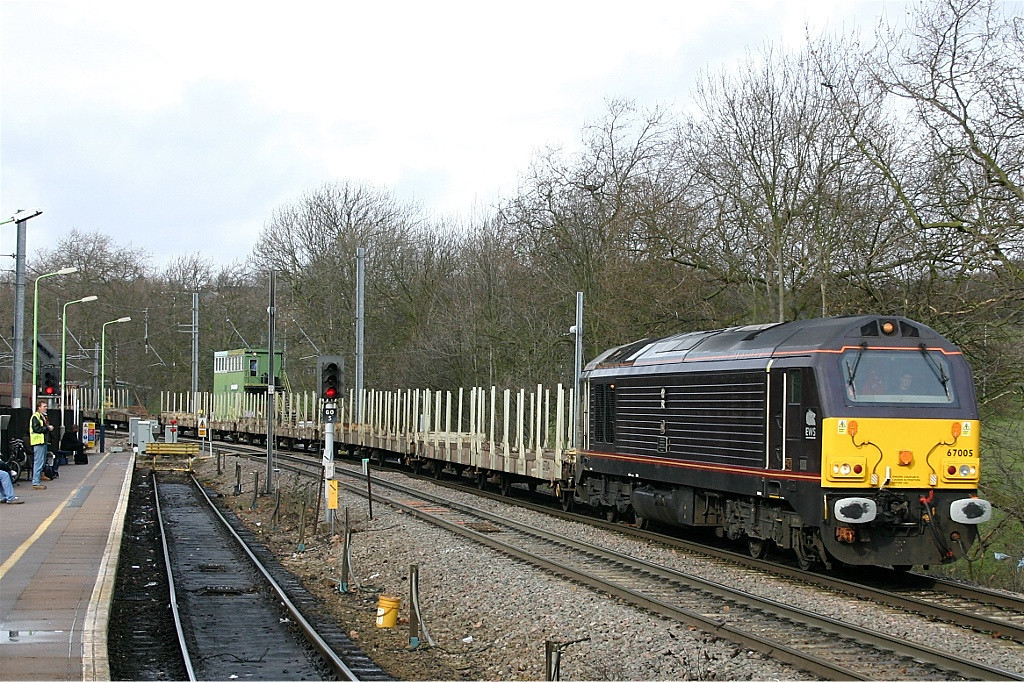Royal train liveried 67005 at Gospel Oak with empty vehicle carriers for Dagenham