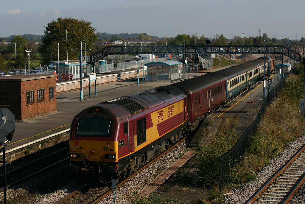 67017 (with 67016 at the rear) departs from Severn Tunnel Junction with a First Great Western loco hauled service