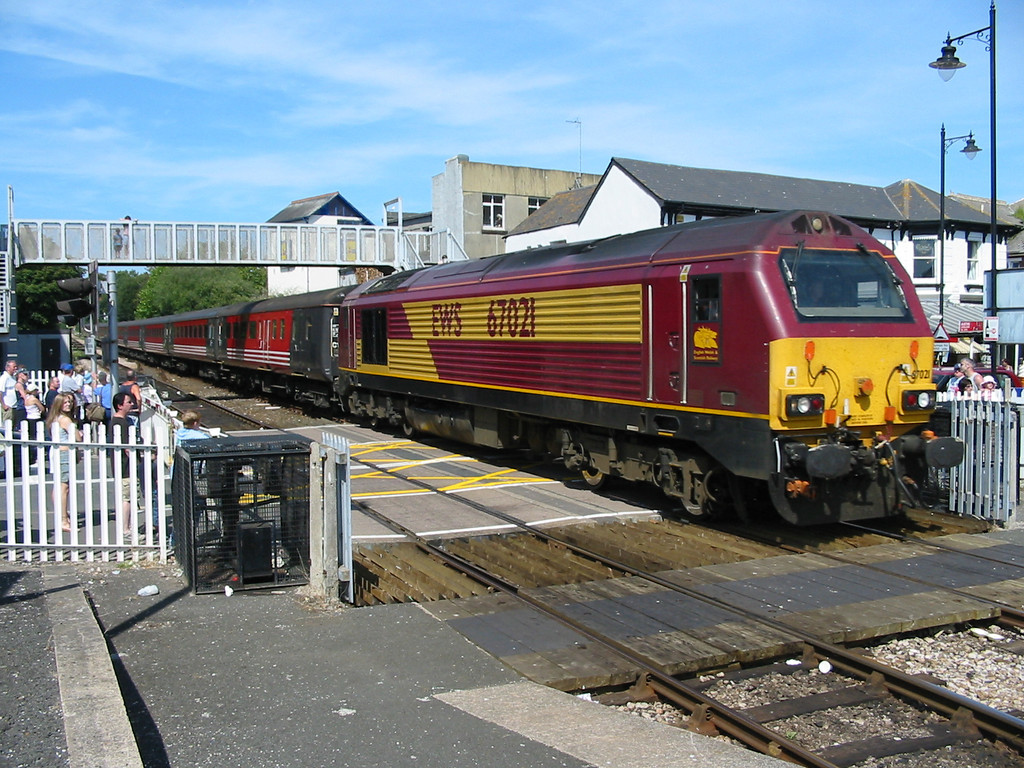 During summer 2004 Virgin Trains hired in loco hauled coaching stock sets using EWS class 67s as power, 67021 is seen at Paignton