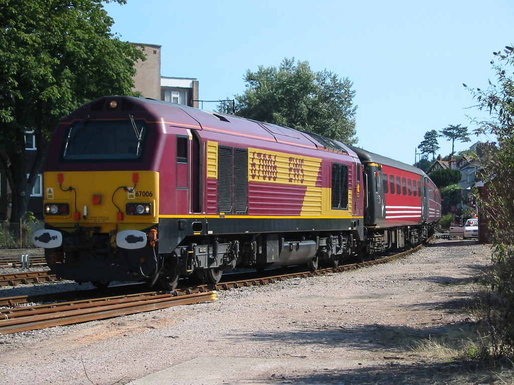 During summer 2004 Virgin Trains hired in loco hauled coaching stock sets using EWS class 67s as power, 67006 is seen at Paignton