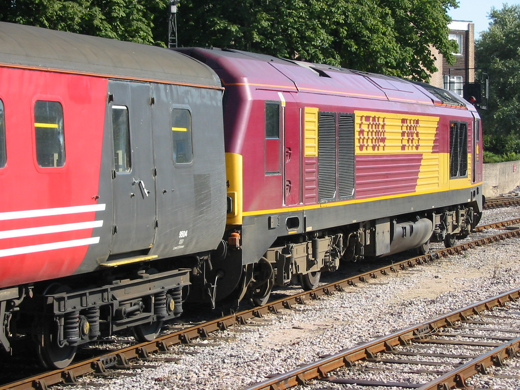During summer 2004 Virgin Trains hired in loco hauled coaching stock sets using EWS class 67s as power, 67014 is seen at Paignton