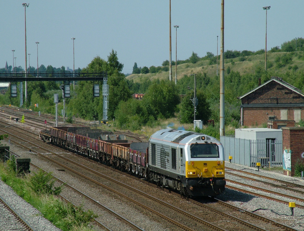 EWS Executive silver liveried 67029 at Toton South Jcn with a departmental trip on the 1st July 2009 - a rather mundane job for a flashy loco!