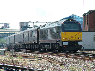 67006 passes Exeter St Davids with the royal train
