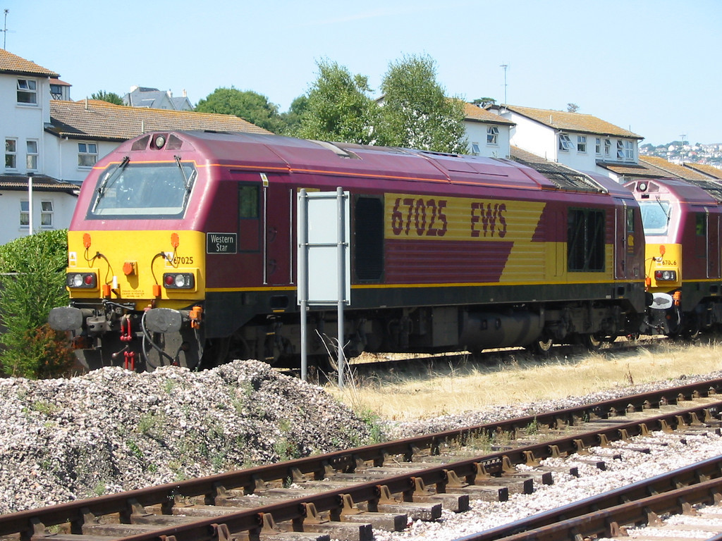 During summer 2004 Virgin Trains hired in loco hauled coaching stock sets using EWS class 67s as power, 67025 is seen at Goodrington carriage sidings