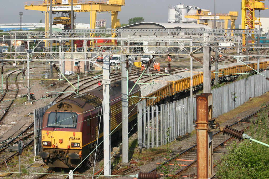 67003 at Willesden working an engineers train of ballast wagons - 18th May 2010