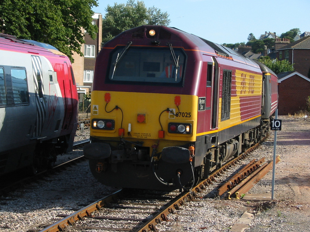 During summer 2004 Virgin Trains hired in loco hauled coaching stock sets using EWS class 67s as power, 67025 is seen at Paignton