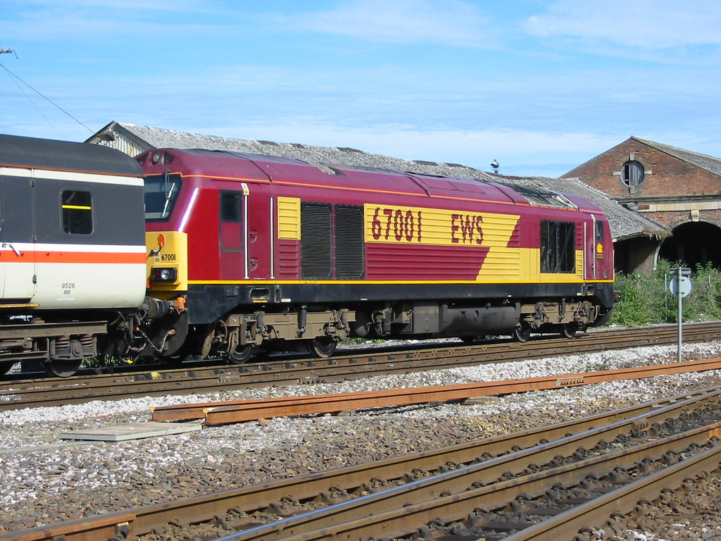During summer 2004 Virgin Trains hired in loco hauled coaching stock sets using EWS class 67s as power, 67001 is seen at Exeter St Davids