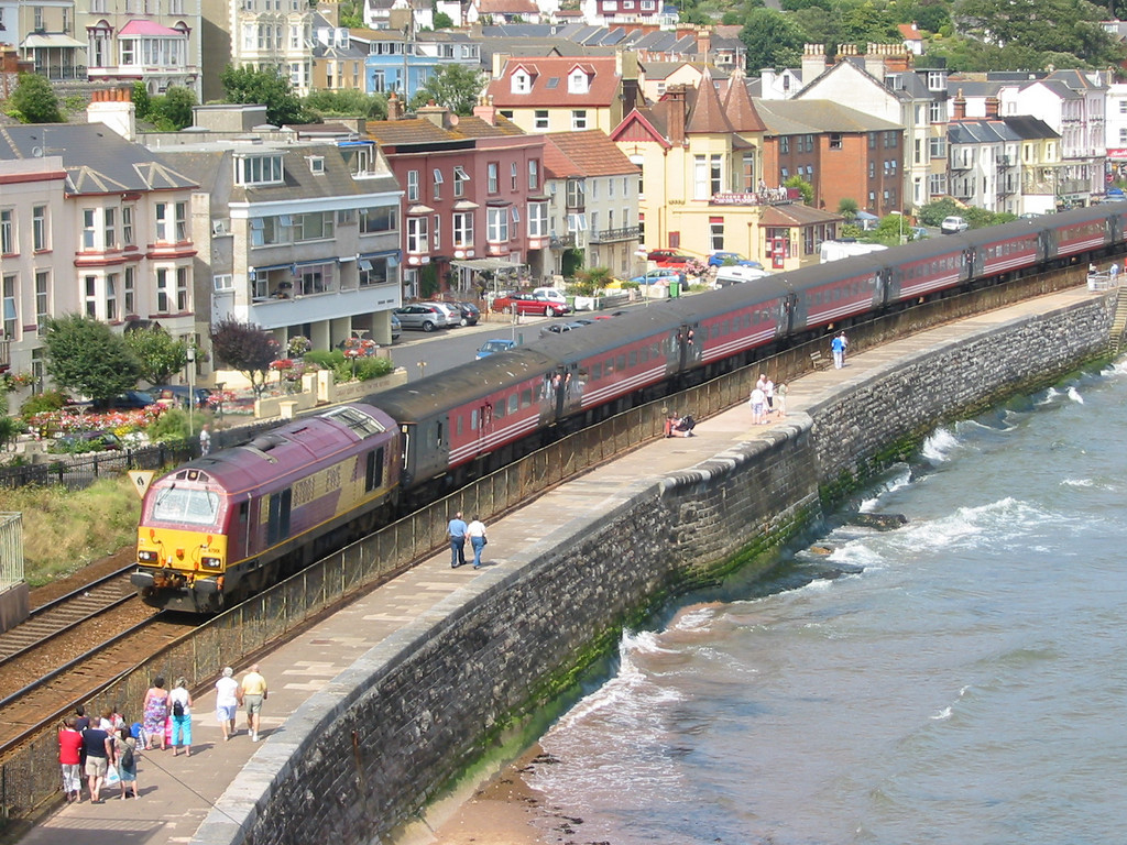During summer 2004 Virgin Trains hired in loco hauled coaching stock sets using EWS class 67s as power, 67001 is seen at Dawlish