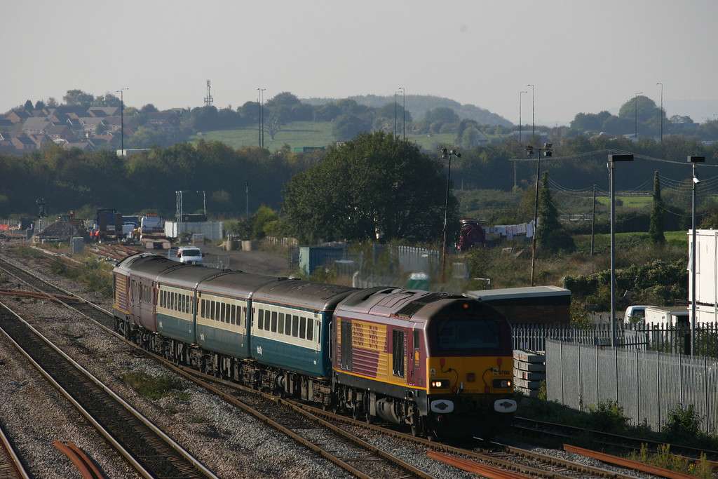 67016 at Severn Tunnel Junction with a First Great Western loco hauled service