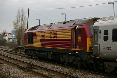 67001 shoves at the rear of a Wrexham & Shropshire train passing South Ruislip