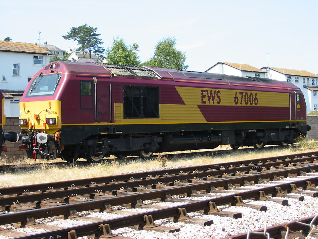 During summer 2004 Virgin Trains hired in loco hauled coaching stock sets using EWS class 67s as power, 67006 is seen at Goodrington carriage sidings