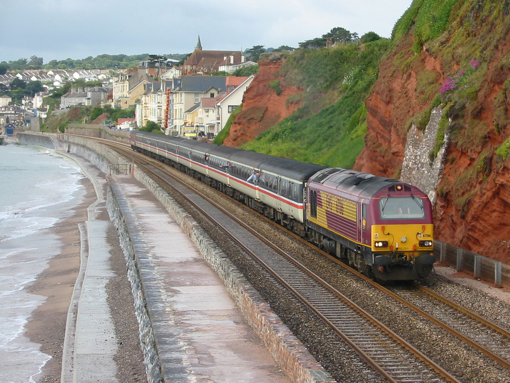 During summer 2004 Virgin Trains hired in loco hauled coaching stock sets using EWS class 67s as power, 67016 is seen at Dawlish
