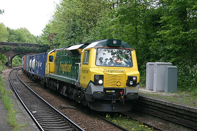 70001 at Crouch Hill with a Felixstowe to Lawley Street freightliner intermodal working on the 14th May 2010