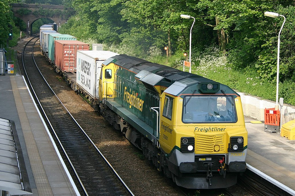 70001 at Crouch Hill with a Felixstowe to Lawley Street freightliner intermodal working on the 21st May 2010