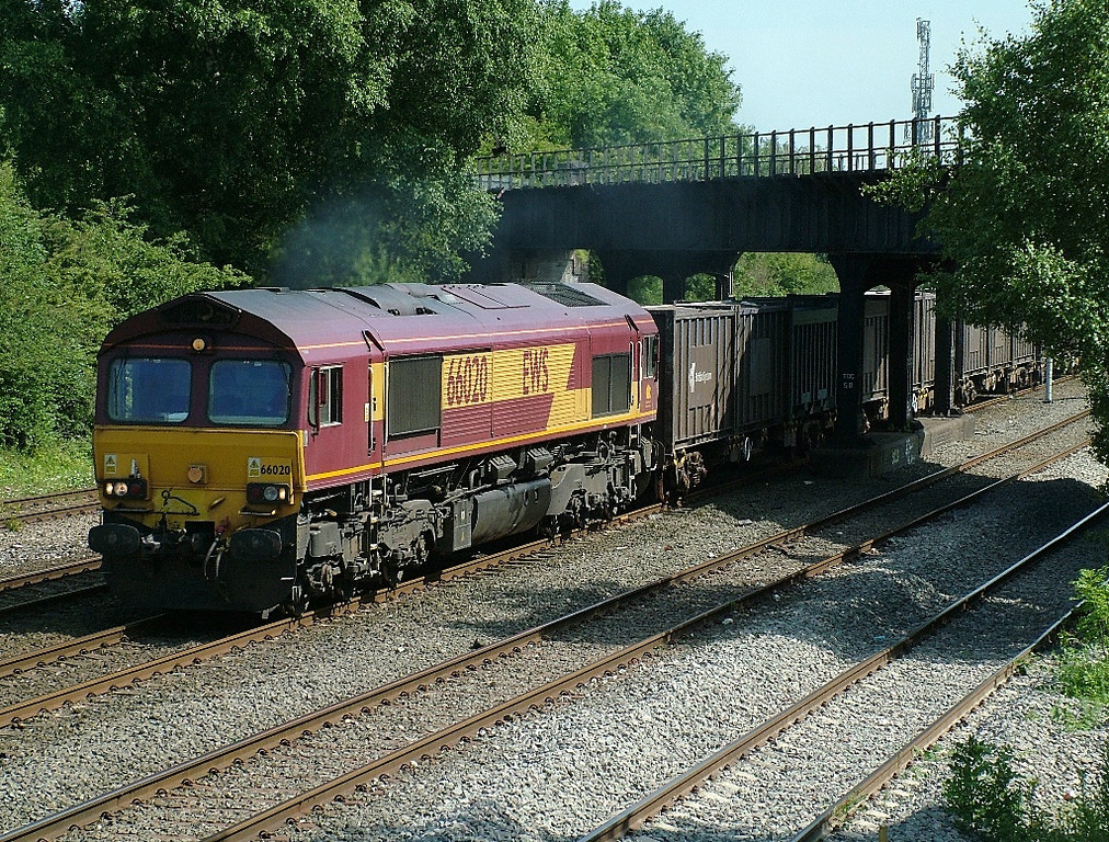 66020 at Toton South Jcn with containerised gypsum