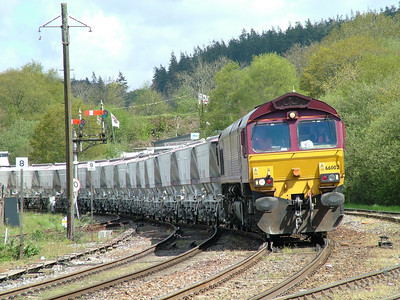 66002 leaves the up loop at Lostwithiel after running round it's rake of CDA wagons for Fowey - 5th May 2006
