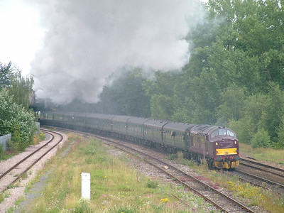 "West Coast Railway Co 37248 at Taunton assisting bullied pacific ""Tangmere"" with a charter train"