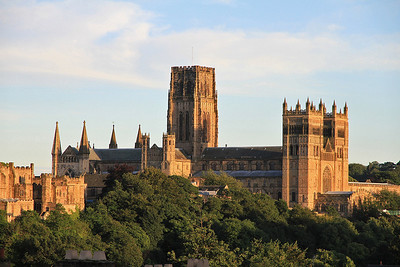 Durham cathedral just catches the evening sunlight - 18/08/12.