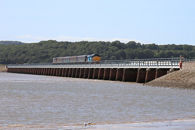 37423 (37606 rear) crossing Kents Viaduct, Arnside, 2C48 11.56 Carlisle-Lancaster - 04/07/15.