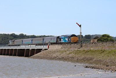 37423 (37606 rear) crossing Kents Viaduct, Arnside, 2C48 11.56 Carlisle-Lancaster - 04/07/15.