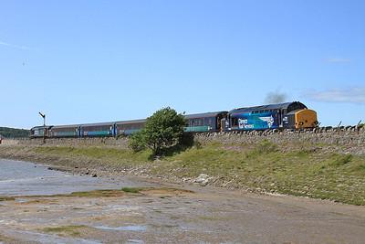 37423 (37606 rear) arriving at Arnside, 2C48 11.56 Carlisle-Lancaster - 04/07/15.