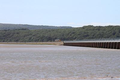 37423 (37606 rear) approach Kents Viaduct, Arnside, 2C48 11.56 Carlisle-Lancaster - 04/07/15.