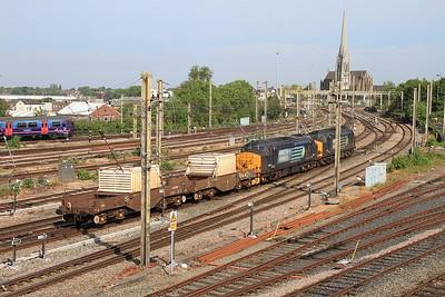 37611 + 37688 head North through Preston with a Nuclear flask train - 12/06/15.