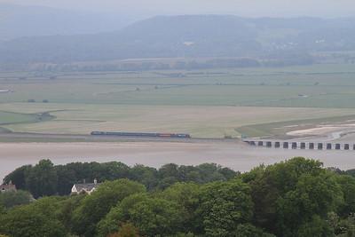 37402 (37606 rear) approaches Kent Viaduct, 2C48 11.56 Carlisle-Lancaster - 13/06/15.