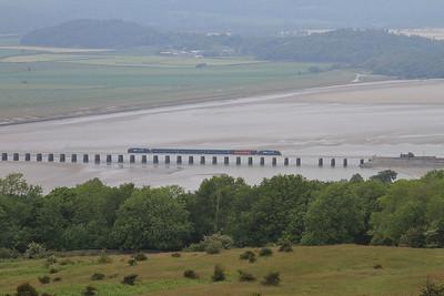 37402 (37606 rear) crossing Kent Viaduct & approcahing Arnside, 2C48 11.56 Carlisle-Lancaster - 13/06/15.
