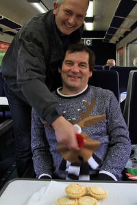 Jack giving Bobs thingy a squeeze - tad premature for Xmas jumpers & mince pies but there you go ! - 17/10/15.