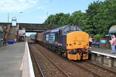37409 (37606 rear) arr Millom, 2C40 08.42 Carlisle-Barrow - 27/06/15.