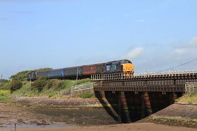37606 / 37409 dep Ravenglass, 2C45 11.38 Barrow-Carlisle - 27/06/15.