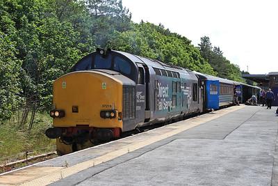 37218 (37409 rear), Barrow, 2C45 11.38 to Carlisle - 11/07/15.