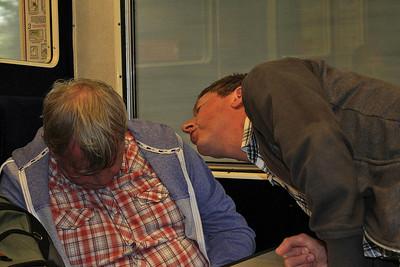 Graham blowing in Jonny's ear - 11/07/15.