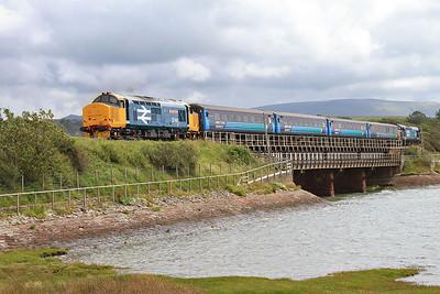 37401 (37610 rear) dep Ravenglass, 2C49 11.38 Barrow-Carlisle - 31/07/15.