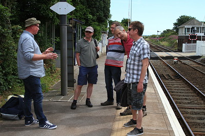 On the platform at Silecroft after a lunchtime tipple - 08/08/15.