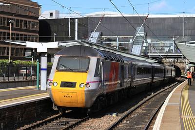 43277 dep Haymarket, on rear of 1E25 14.52 Aberdeen-Kings Cross - 12/05/15.
